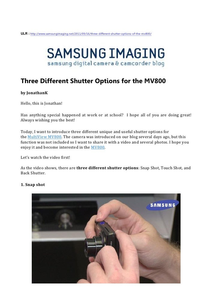 Three Different Shutter Options for the MV800