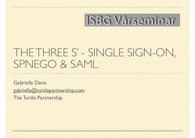 ISBG  The 3 S's a guide to single sign on