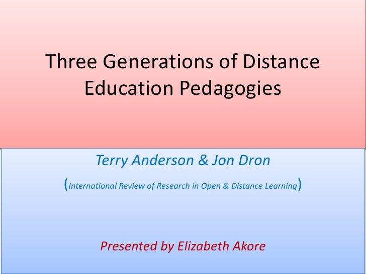 Three generations of distance education pedagogies