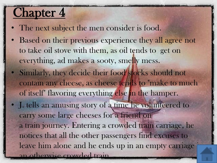 three men in the boat important incident Three men in the boat important incident  three men in a boat (to say nothing of the dog) summary the novel, narrated by the englishman j, tells of a boat trip j.