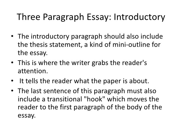 3 paragraph essay example Introductory paragraph the introductory paragraph should also include the thesis statement, a kind of mini-outline for the essay this is where the writer grabs the.