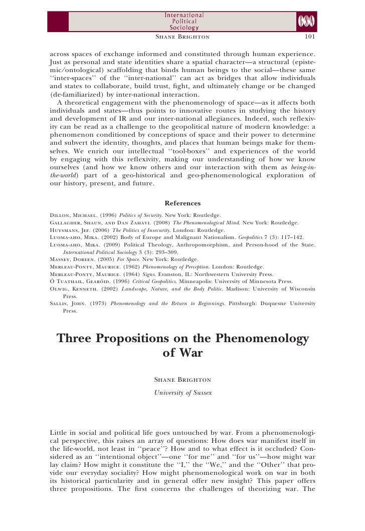 Three propositions on the phenomenology of war