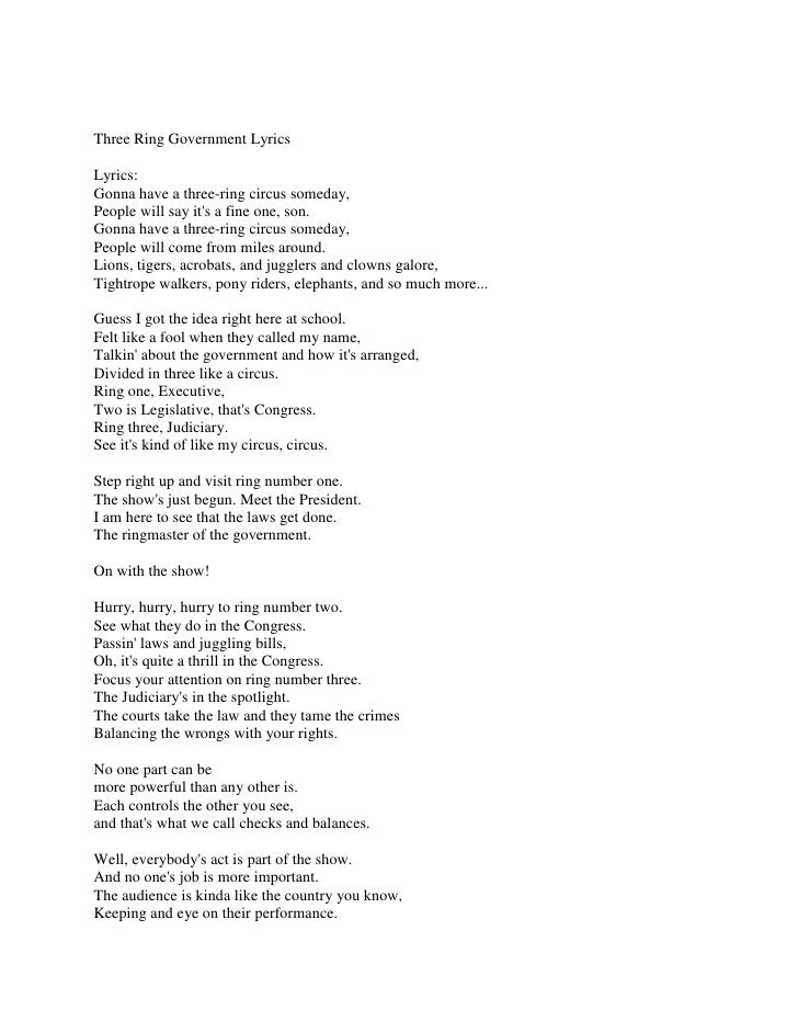 Three Ring Government Lyrics<br />Lyrics:Gonna have a three-ring circus someday,People will say it's a fine one, son.Gonna...