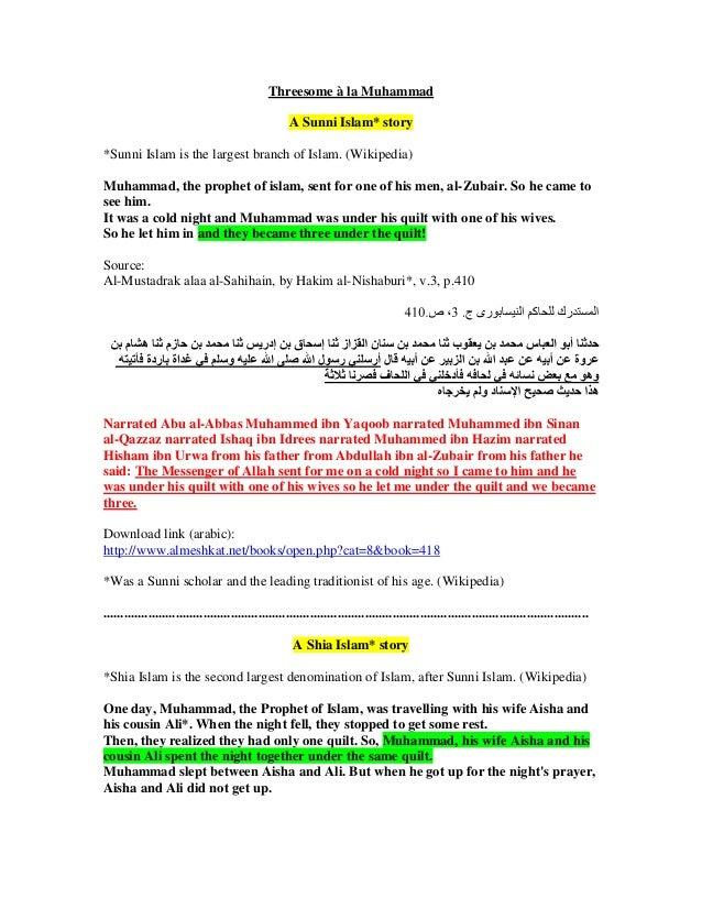 Threesome à la Muhammad                                                     A Sunni Islam* story*Sunni Islam is the larges...
