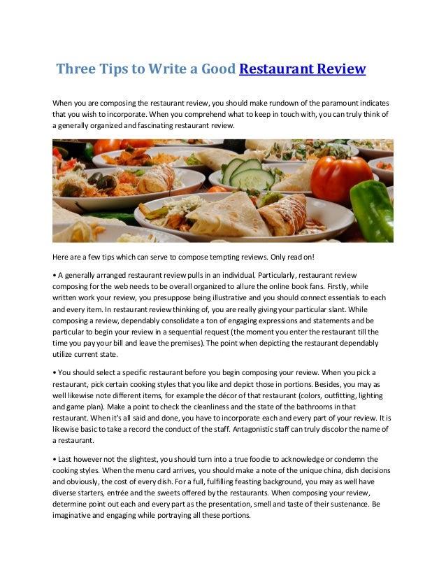 write a restaurant review