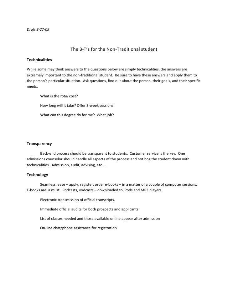Draft 8-27-09<br />The 3-T's for the Non-Traditional student<br />Technicalities<br />While some may think answers to the ...