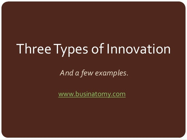 ThreeTypes of Innovation And a few examples. www.businatomy.com