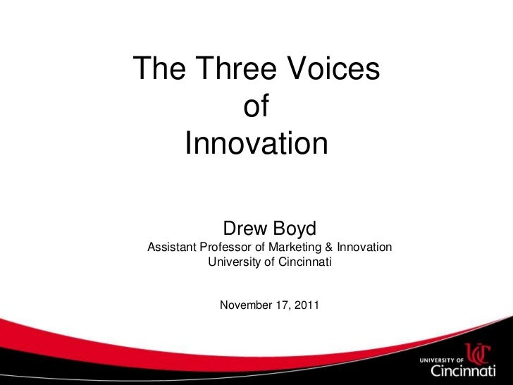 The Three Voices       of   Innovation             Drew BoydAssistant Professor of Marketing & Innovation           Univer...