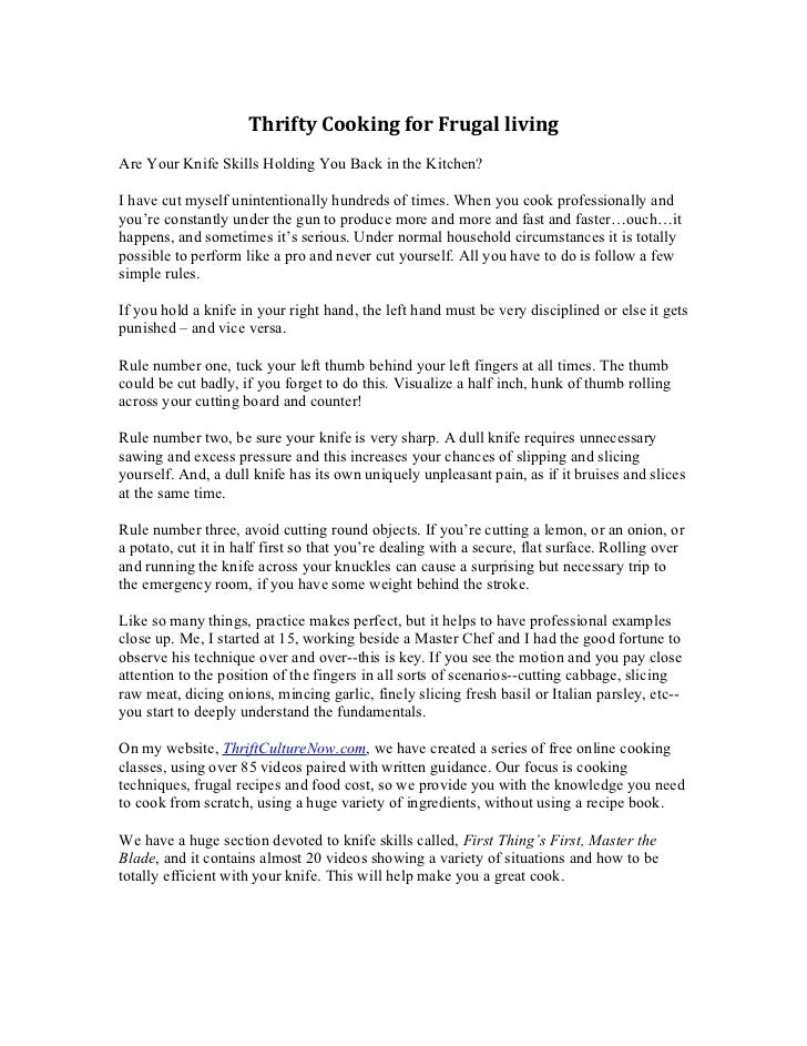 Thrifty Cooking for Frugal livingAre Your Knife Skills Holding You Back in the Kitchen?I have cut myself unintentionally h...