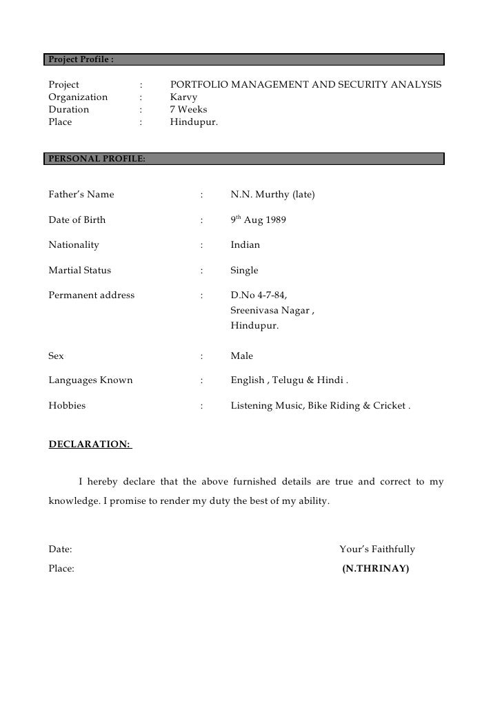 What is profile name in resume