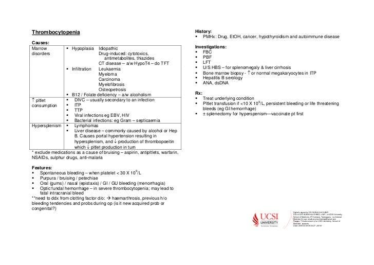 Thrombocytopenia summary