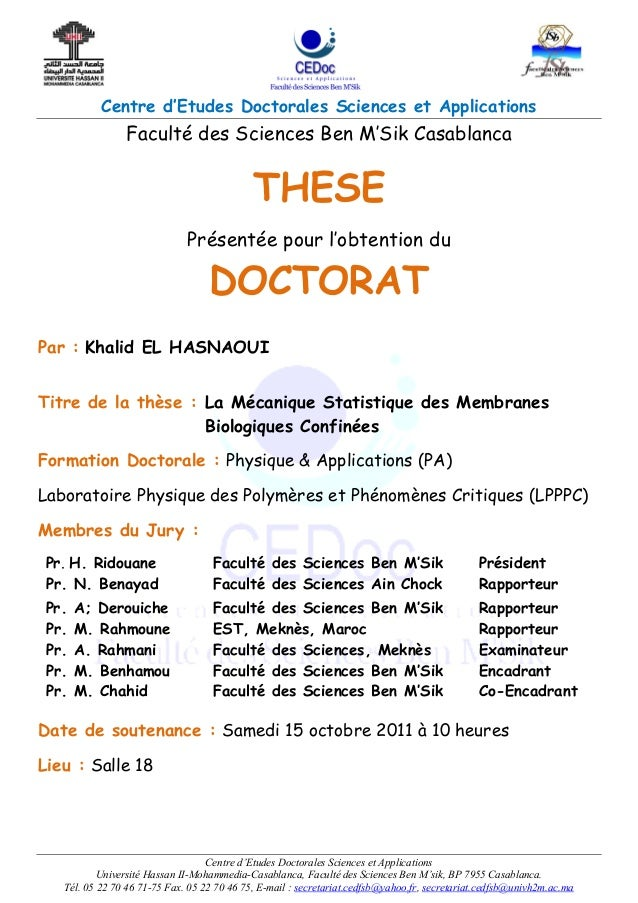 Centre d'Etudes Doctorales Sciences et Applications Centre d'Etudes Doctorales Sciences et Applications Université Hassan ...