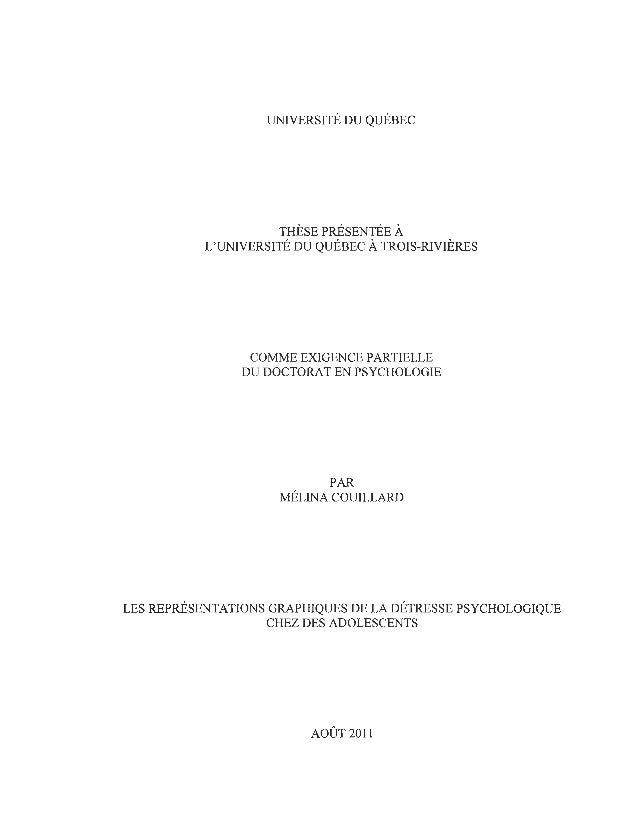UNIVERSITÉ DU QUÉBEC THÈSE PRÉSENTÉE À L'UNIVERSITÉ DU QUÉBEC À TROIS-RIVIÈRES COMME EXIGENCE PARTIELLE DU DOCTORAT EN PSY...