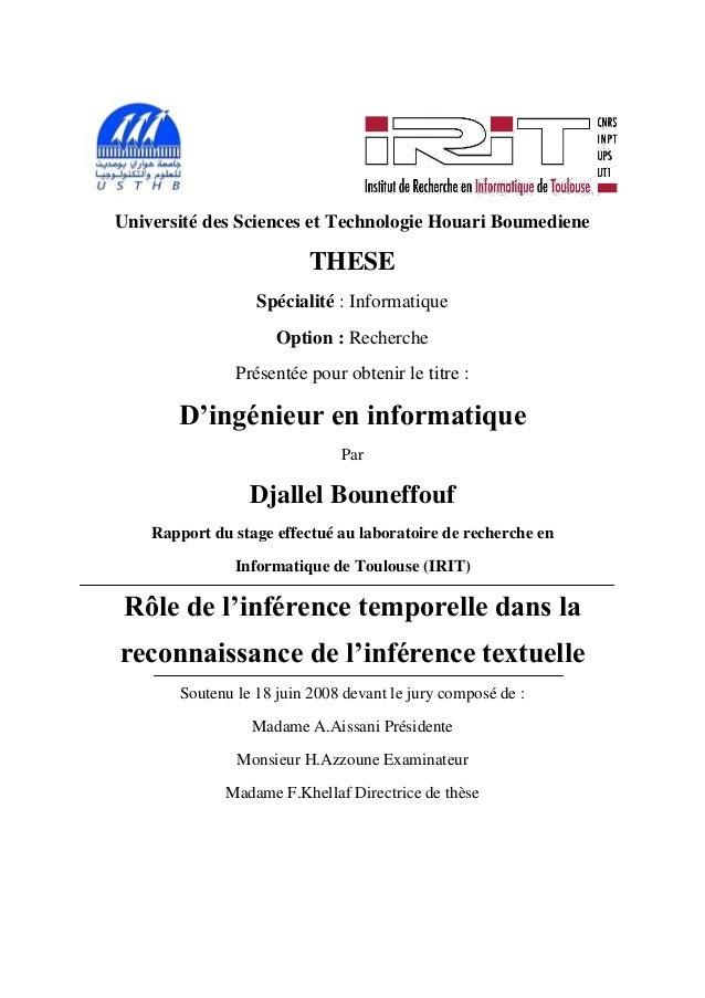 Université des Sciences et Technologie Houari Boumediene                          THESE                  Spécialité : Info...