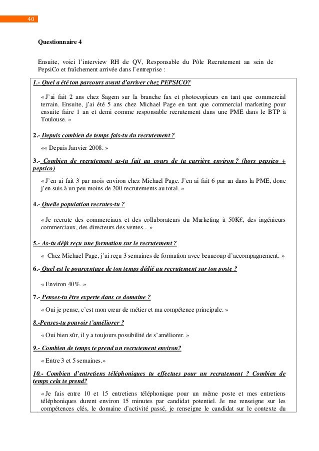 questionnaire of pepsico