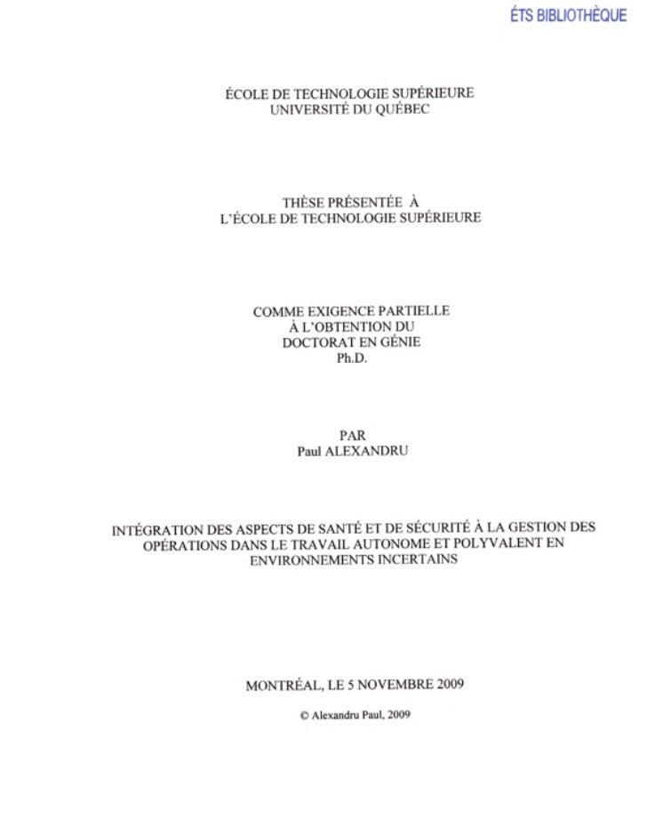 ÉTS BIBLIOTHÈQUE               ÉCOLE DE TECHNOLOGIE SUPÉRIEURE                    UNIVERSITÉ DU QUÉBEC                    ...