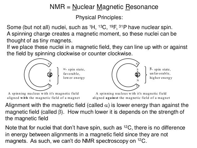 NMR = Nuclear Magnetic Resonance                                              Physical Principles:Some (but not all) nucle...
