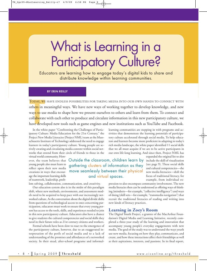 What is Learning in a participatory culture?