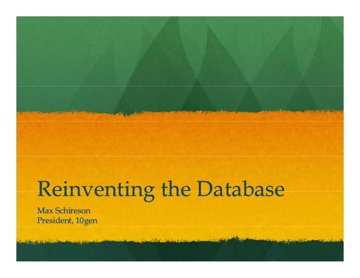 Re-inventing the Database: What to Keep and What to Throw Away