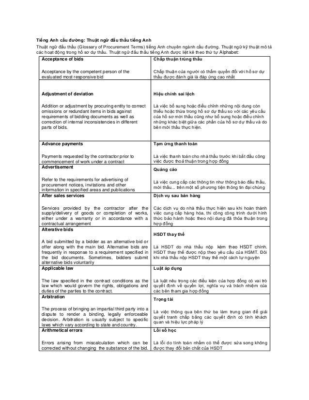 Tiếng Anh cầu đường: Thuật ngữ đấu thầu tiếng AnhThuật ngữ đấu thầu (Glossary of Procurement Terms) tiếng Anh chuyên ngành...