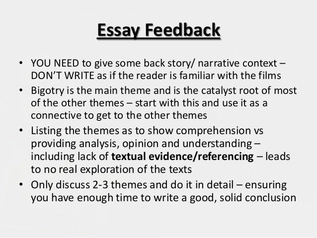 essay feedback The list of essay questions below are the formal assessments, which you will be set during the course the list will be updated as the course proceeds a link will be added to the feedback handouts and materials once the essays have been graded.