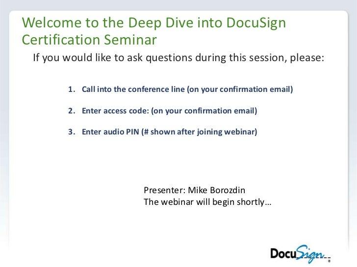 Thursday webinar   deep dive into docu sign certification