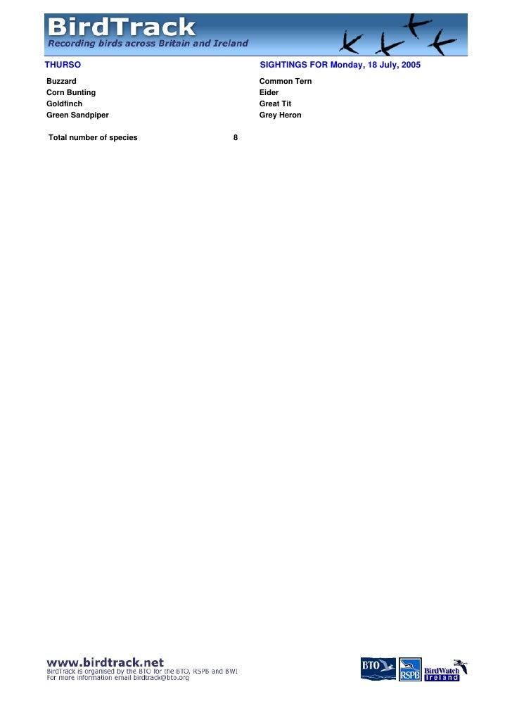 Hamilton Grammar birds records for Thurso