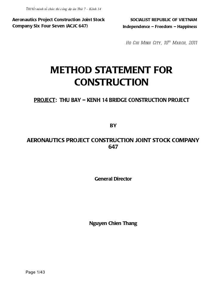 Thuyết minh tổ chức thi công dự án Thứ 7 – Kênh 14Aeronautics Project Construction Joint Stock                       SOCIA...