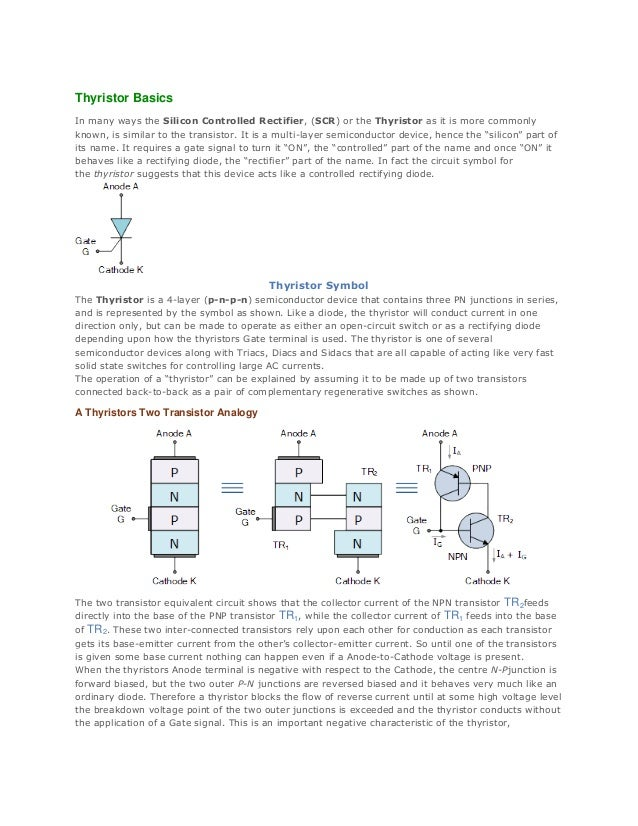 Thyristor Basics In many ways the Silicon Controlled Rectifier, (SCR) or the Thyristor as it is more commonly known, is si...