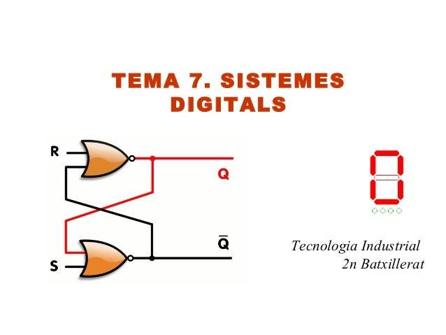 TEMA 7. SISTEMES   DIGITALS            Tecnologia Industrial                   2n Batxillerat