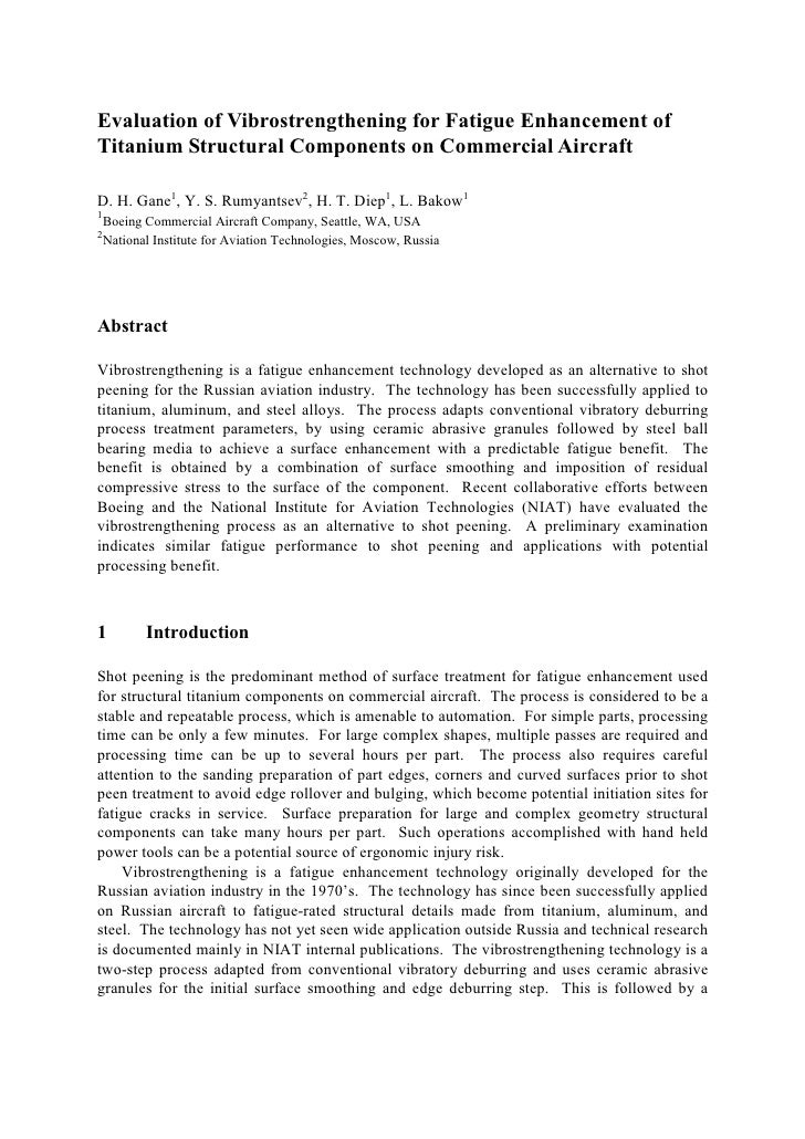 Evaluation of Vibrostrengthening for Fatigue Enhancement of Titanium Structural Components on Commercial Aircraft  D. H. G...