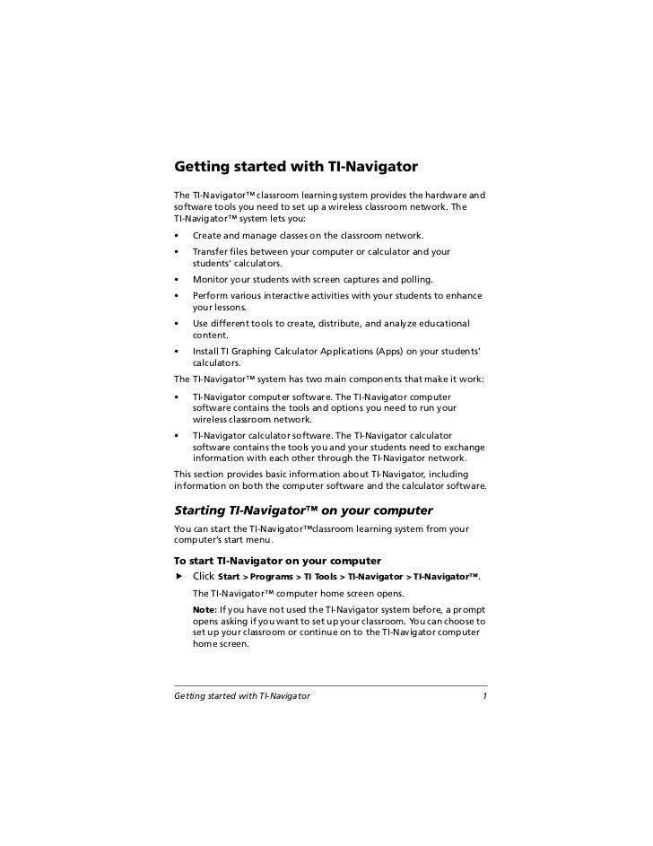 TI Navigator User Manual