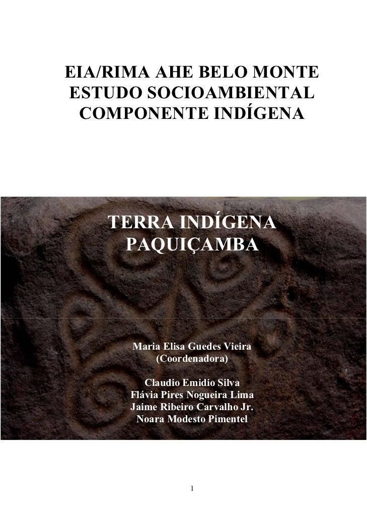 EIA/RIMA AHE BELO MONTEESTUDO SOCIOAMBIENTAL COMPONENTE INDÍGENA   TERRA INDÍGENA    PAQUIÇAMBA      Maria Elisa Guedes Vi...