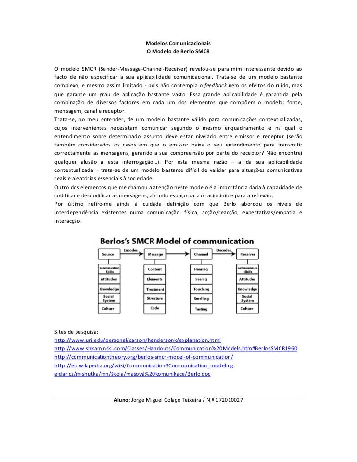 Modelos Comunicacionais                                   O Modelo de Berlo SMCRO modelo SMCR (Sender-Message-Channel-Rece...