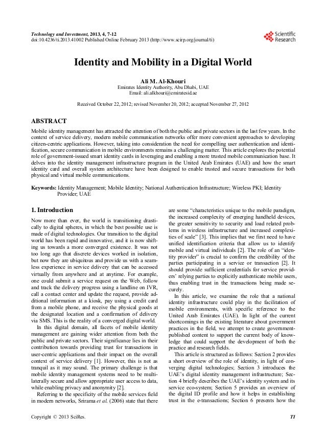 Identity and Mobility in a Digital World