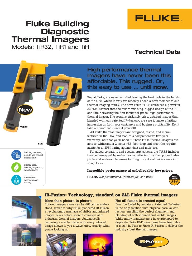 Fluke Building      DiagnosticThermal ImagersModels: TiR32, TiR1 and TiR                                                  ...