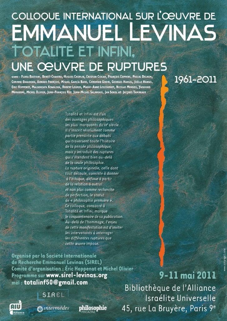 Programme du Colloque « Totalité et infini, une œuvre de ruptures » Paris, 9-11 mai 2011 -1-