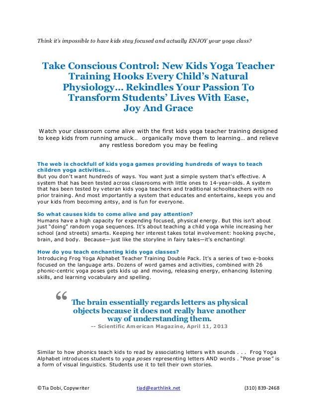 Tia Dobi Portfolio Piece Frog Yoga Alphabet - Kids Yoga Teacher Training