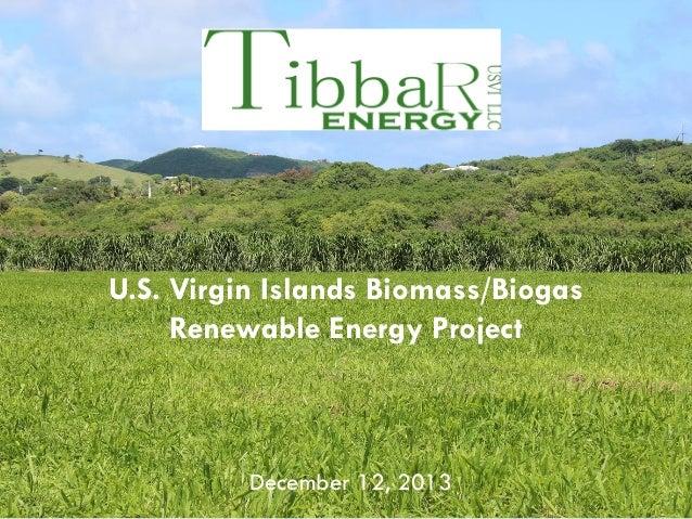 U.S. Virgin Islands Biomass/Biogas Renewable Energy Project  December 12, 2013