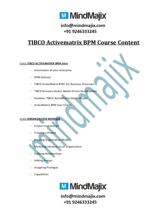 TIBCO Activematrix BPM Course Content Unit1:TIBCO ACTIVEMATRIX BPM Intro  Automation of your enterprise  BPM Defined  T...