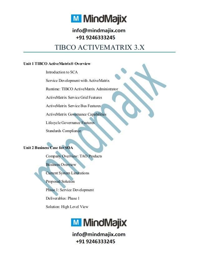 TIBCO ACTIVEMATRIX 3.X Unit 1 TIBCO ActiveMatrix® Overview Introduction to SCA Service Development with ActiveMatrix Runti...