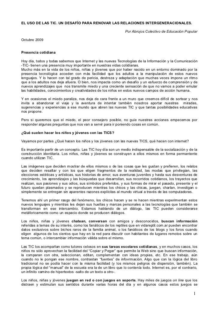 EL USO DE LAS TIC. UN DESAFÍO PARA RENOVAR LAS RELACIONES INTERGENERACIONALES.                                            ...
