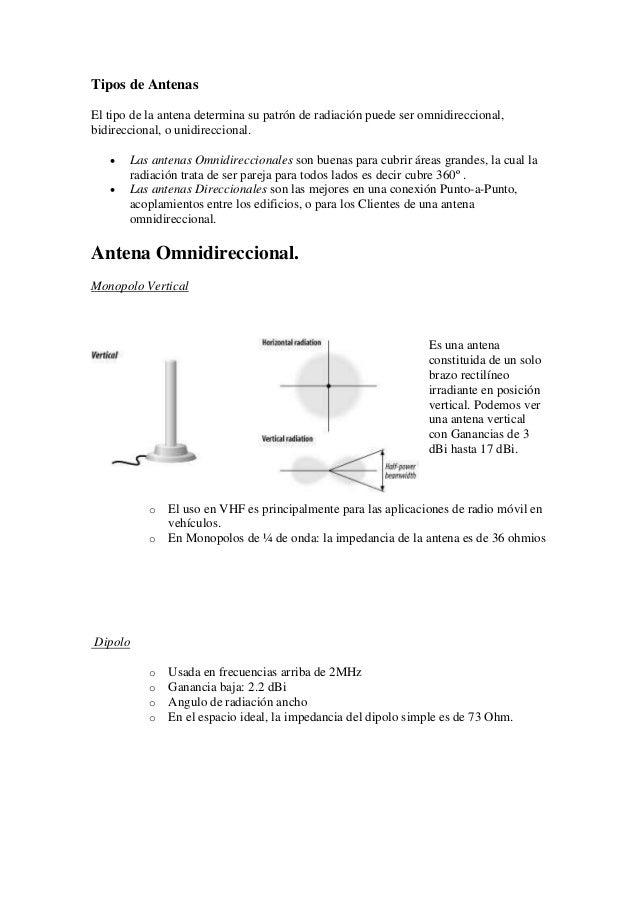Tipos de Antenas El tipo de la antena determina su patrón de radiación puede ser omnidireccional, bidireccional, o unidire...