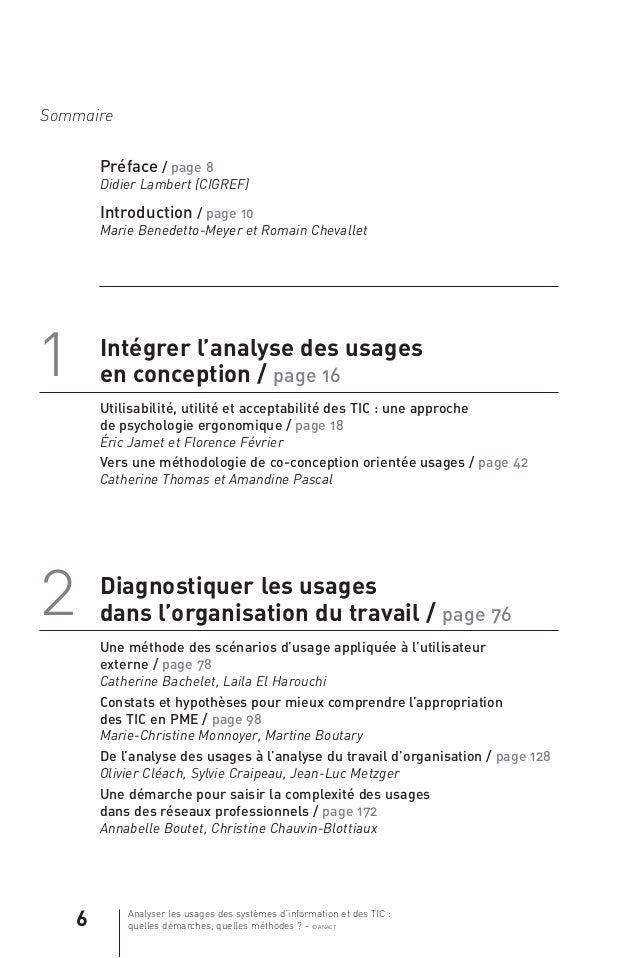 Analyser les usages des systèmes d'information et des TIC : quelles démarches, quelles méthodes ? - © ANACT 6 Sommaire 1 I...