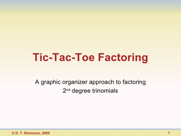Tic-Tac-Toe Factoring A graphic organizer approach to factoring 2 nd  degree trinomials