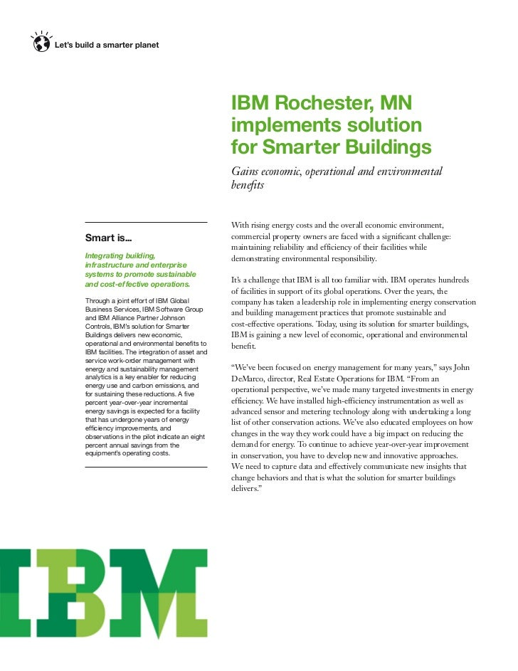 IBM Rochester, MN                                               implements solution                                       ...