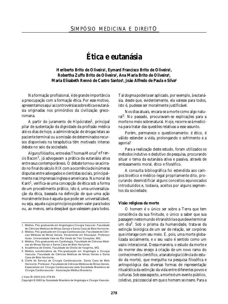 SIMPÓSIO MEDICINA E DIREITO                                                           Ética e eutanásia                   ...