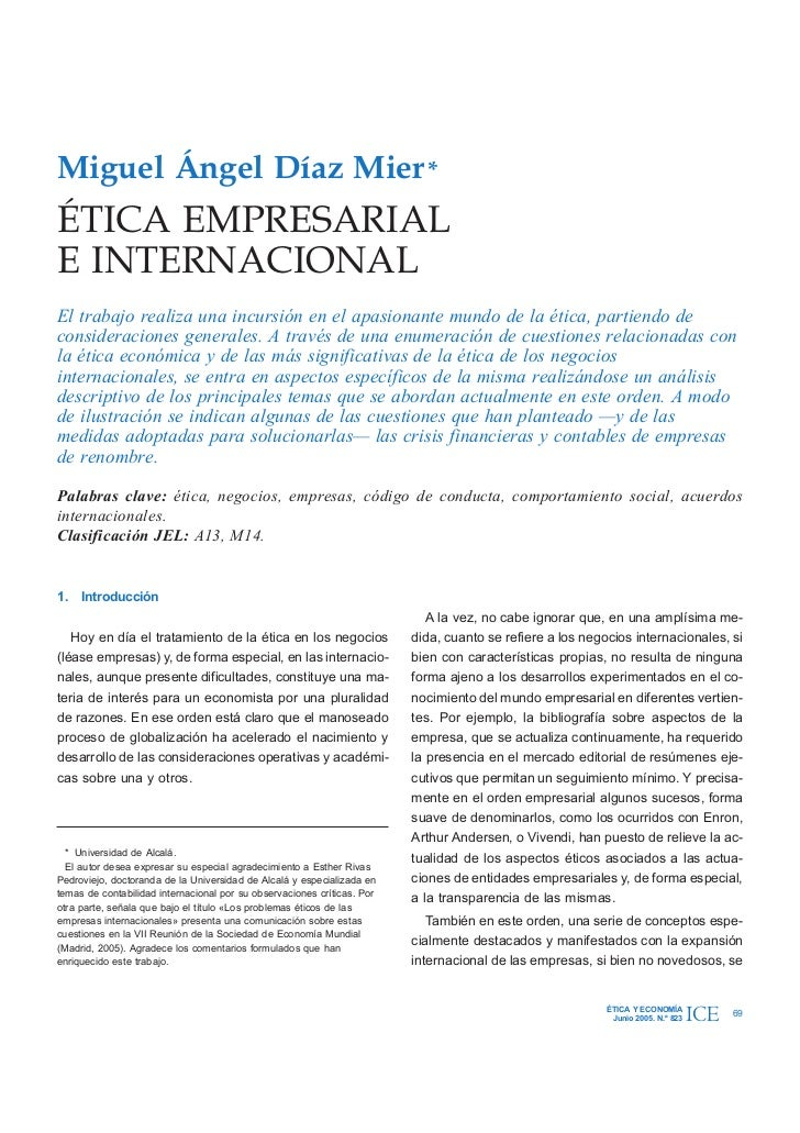 Ética empresarial e internacional - Miguel Ángel Díaz