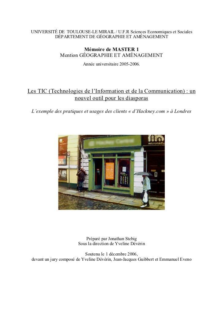 UNIVERSITÉ DE TOULOUSE-LE MIRAIL / U.F.R Sciences Economiques et Sociales          DÉPARTEMENT DE GÉOGRAPHIE ET AMÉNAGEMEN...