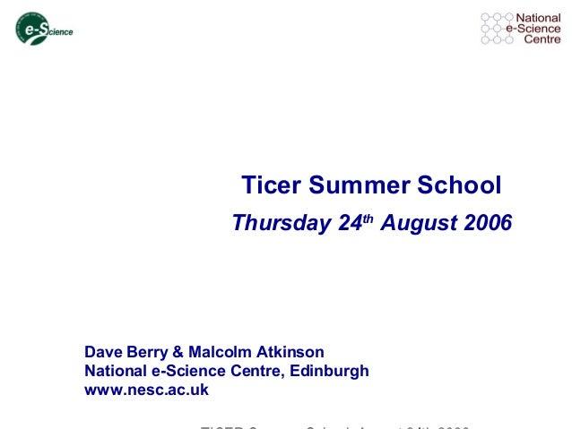 Ticer Summer School Thursday 24th August 2006 Dave Berry & Malcolm Atkinson National e-Science Centre, Edinburgh www.nesc....